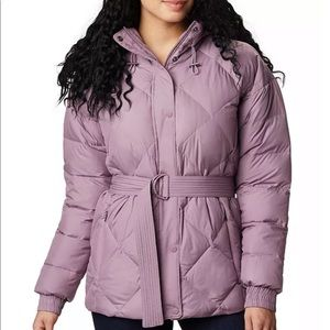 Columbia duck down belted hooded puffer jacket NWT